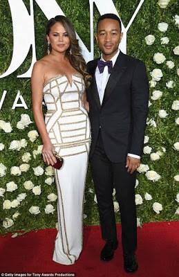 Chrissy Teigen and hubby John Legend stun at Tony Awards